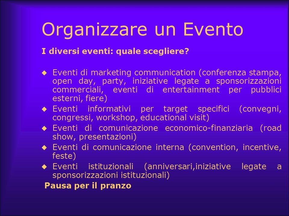 Eventi quali scegliere  Party Il pubblico è misto ma mai la scelta è dovuta al caso e il messaggio da comunicare è sempre il filo conduttore.