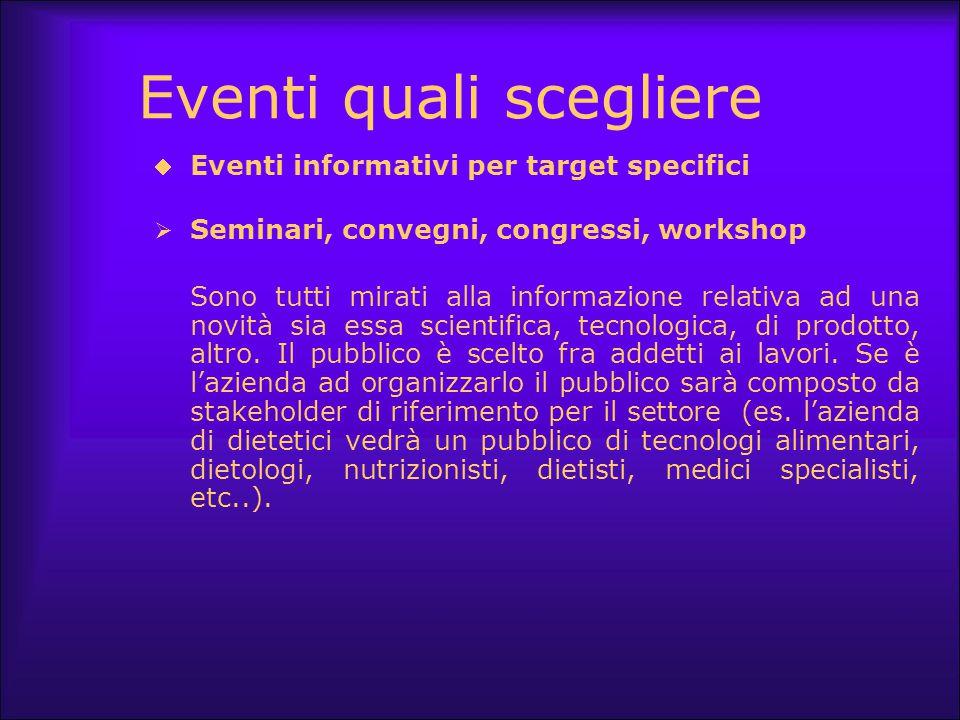 Eventi quali scegliere  Eventi informativi per target specifici  Seminari, convegni, congressi, workshop Sono tutti mirati alla informazione relativ