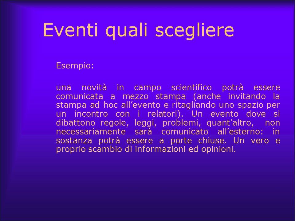 Eventi quali scegliere Esempio: una novità in campo scientifico potrà essere comunicata a mezzo stampa (anche invitando la stampa ad hoc all'evento e