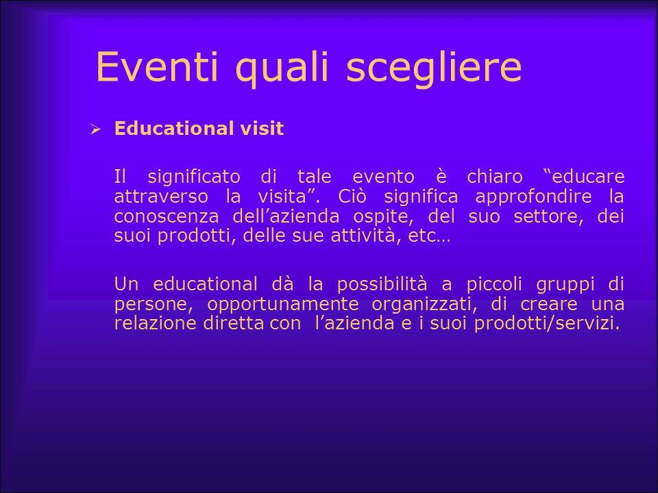 """Eventi quali scegliere  Educational visit Il significato di tale evento è chiaro """"educare attraverso la visita"""". Ciò significa approfondire la conosc"""