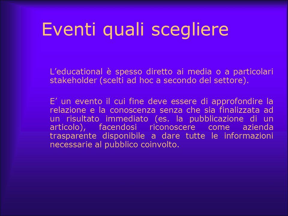 Eventi quali scegliere L'educational è spesso diretto ai media o a particolari stakeholder (scelti ad hoc a secondo del settore). E' un evento il cui