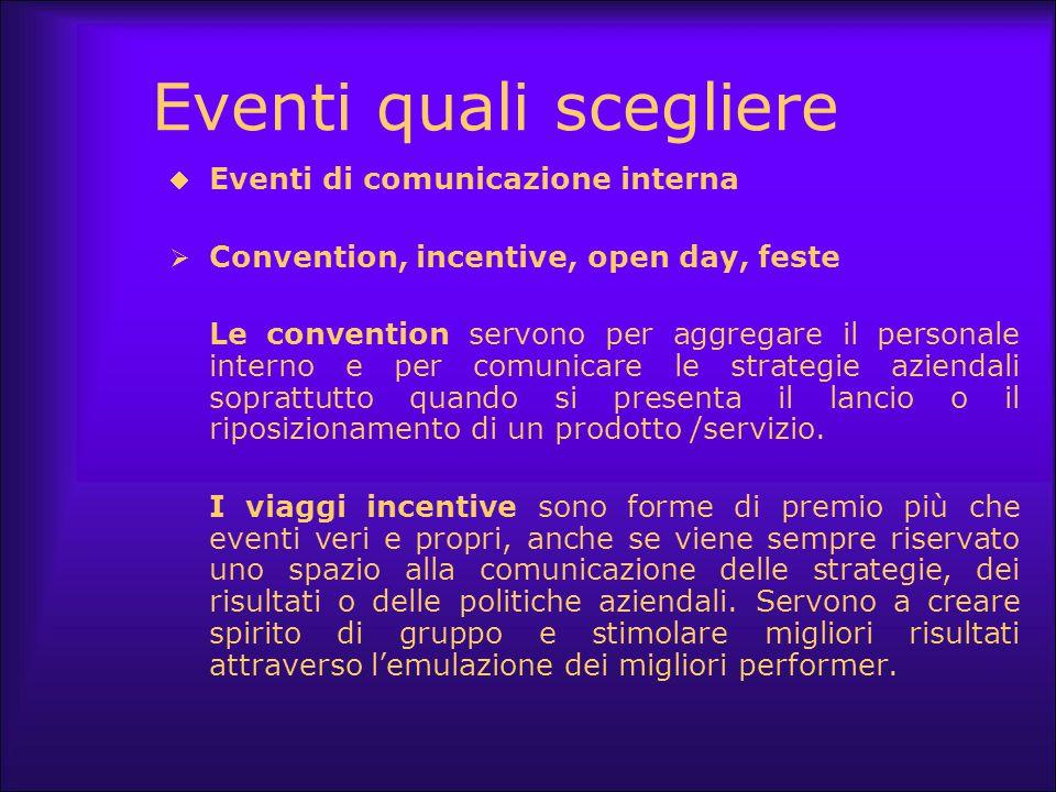 Eventi quali scegliere  Eventi di comunicazione interna  Convention, incentive, open day, feste Le convention servono per aggregare il personale int