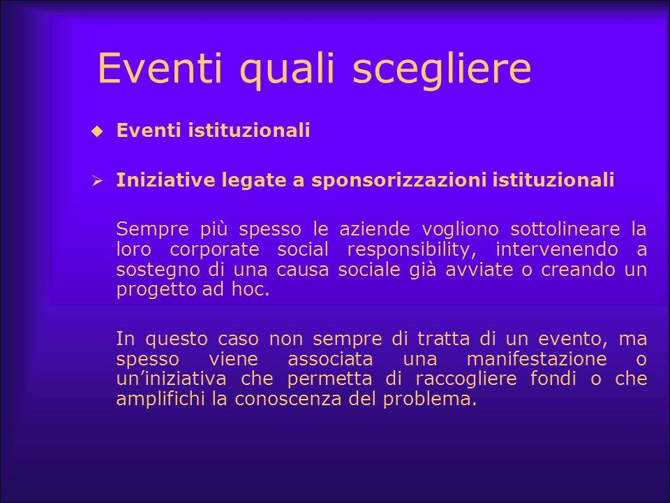 Eventi quali scegliere  Eventi istituzionali  Iniziative legate a sponsorizzazioni istituzionali Sempre più spesso le aziende vogliono sottolineare