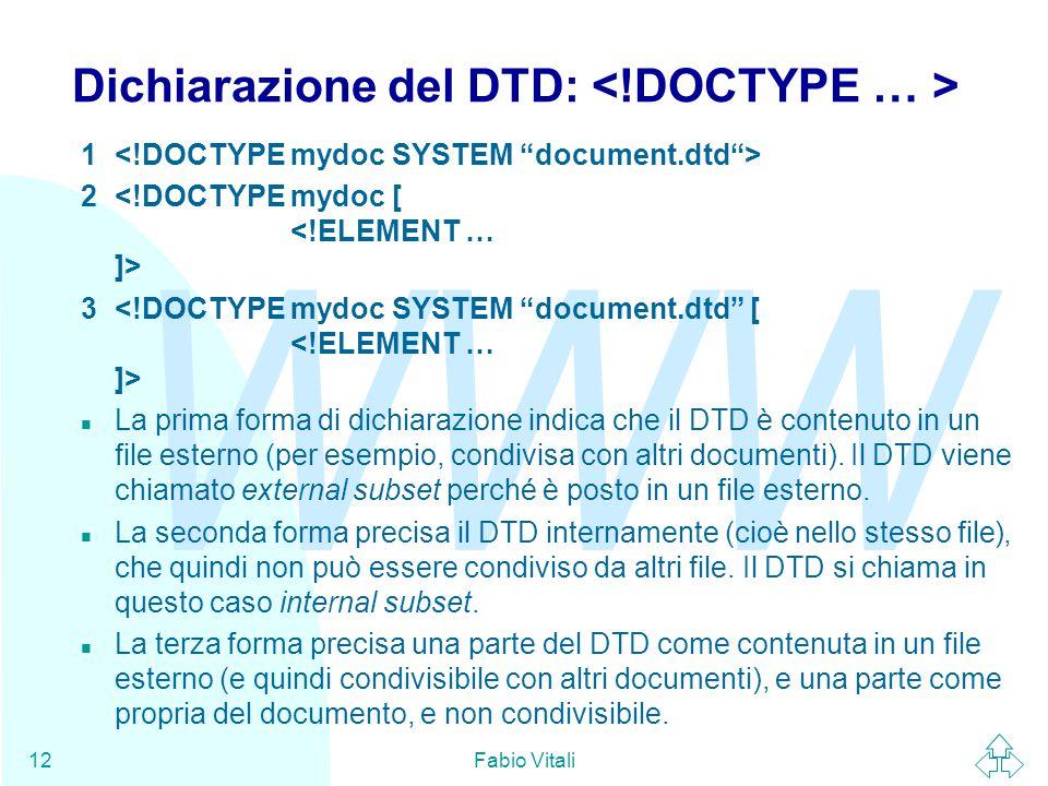 WWW Fabio Vitali12 Dichiarazione del DTD: 1 2 3 n La prima forma di dichiarazione indica che il DTD è contenuto in un file esterno (per esempio, condivisa con altri documenti).