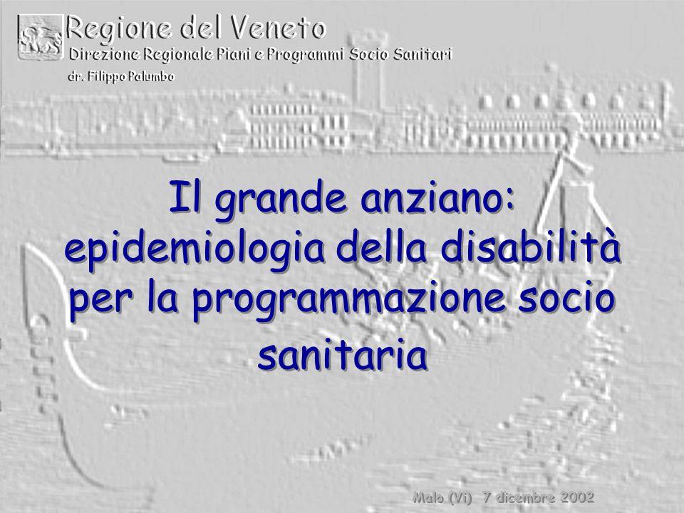 Il grande anziano: epidemiologia della disabilità per la programmazione socio sanitaria Malo (Vi) 7 dicembre 2002