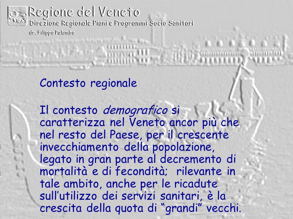 Contesto regionale Il contesto demografico si caratterizza nel Veneto ancor più che nel resto del Paese, per il crescente invecchiamento della popolazione, legato in gran parte al decremento di mortalità e di fecondità; rilevante in tale ambito, anche per le ricadute sull'utilizzo dei servizi sanitari, è la crescita della quota di grandi vecchi.