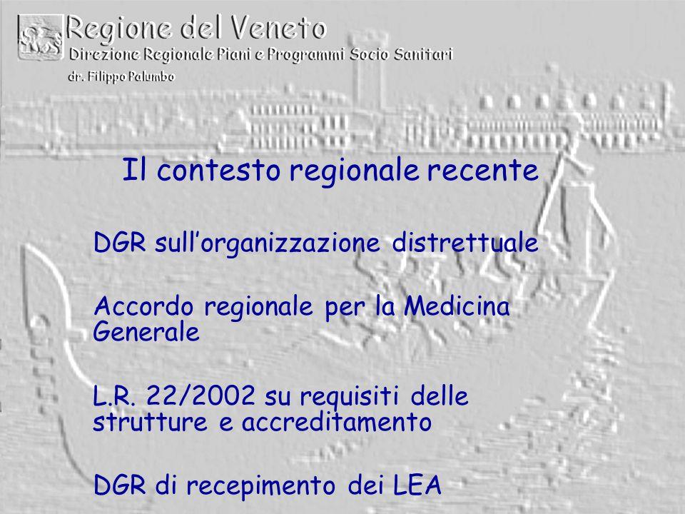 Il contesto regionale recente DGR sull'organizzazione distrettuale Accordo regionale per la Medicina Generale L.R.