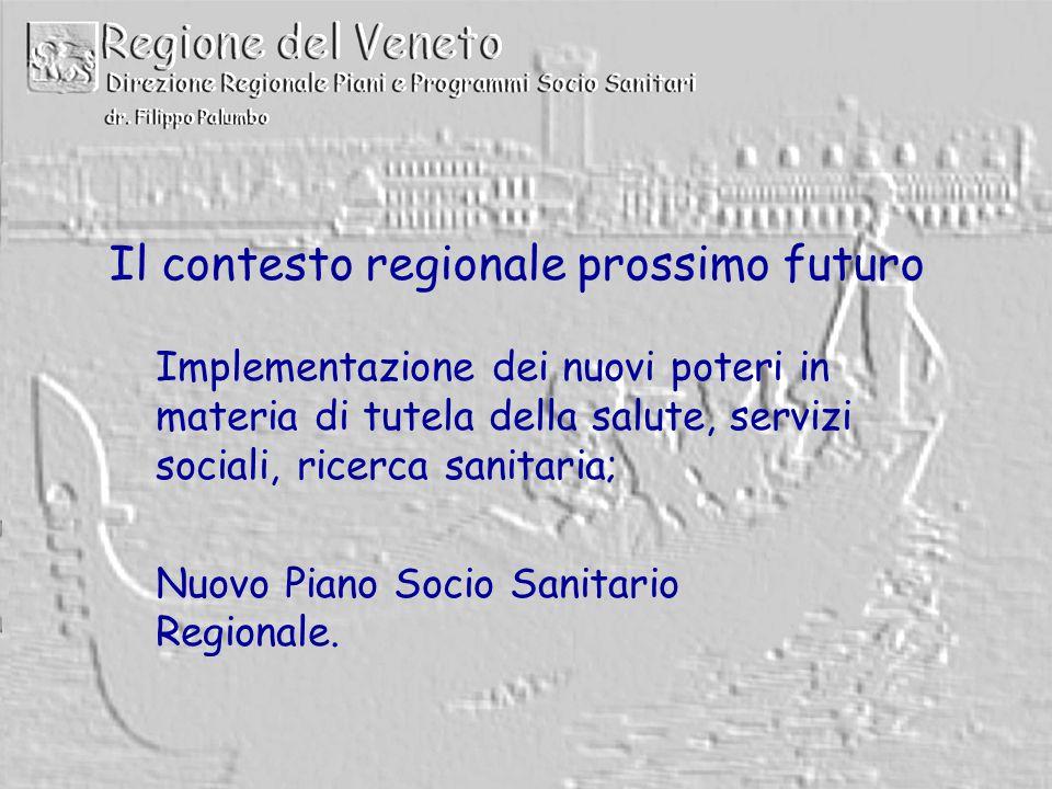 Il contesto regionale prossimo futuro Implementazione dei nuovi poteri in materia di tutela della salute, servizi sociali, ricerca sanitaria; Nuovo Piano Socio Sanitario Regionale.