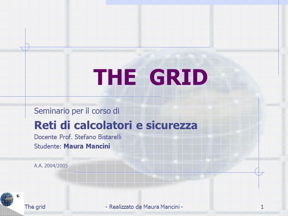 The grid- Realizzato da Maura Mancini -2 Indice: Definizione Caratteristiche Componenti Funzionamento Architettura Grid Progetti Grid attivi Comunità interessate Problematiche Comunicazione sulla griglia Conclusione e Sviluppi futuri