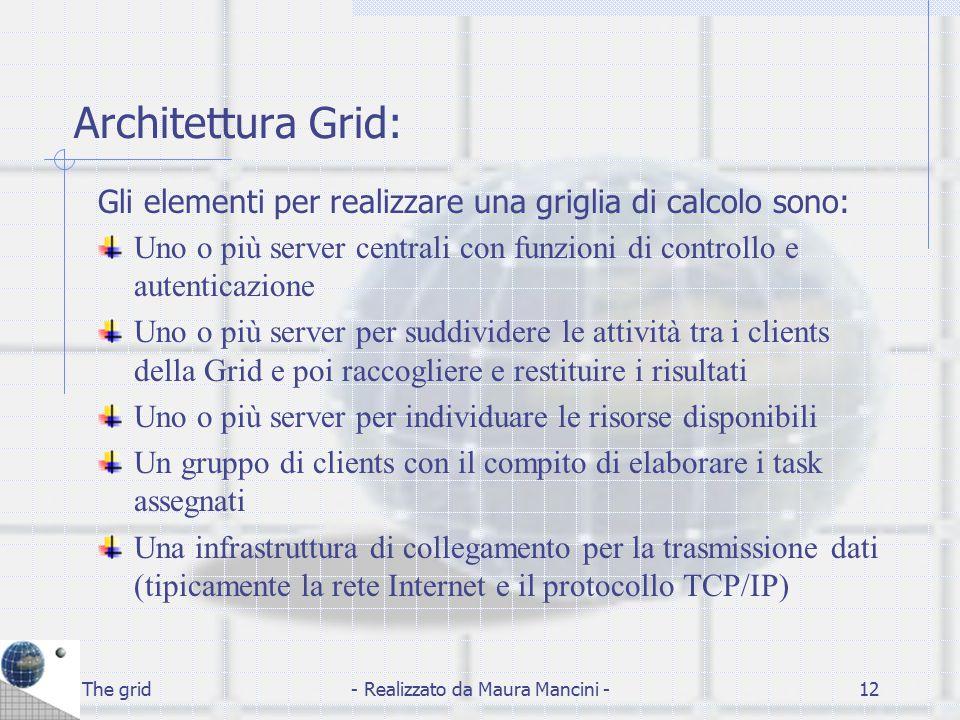 The grid- Realizzato da Maura Mancini -12 Architettura Grid: Gli elementi per realizzare una griglia di calcolo sono: Uno o più server centrali con fu
