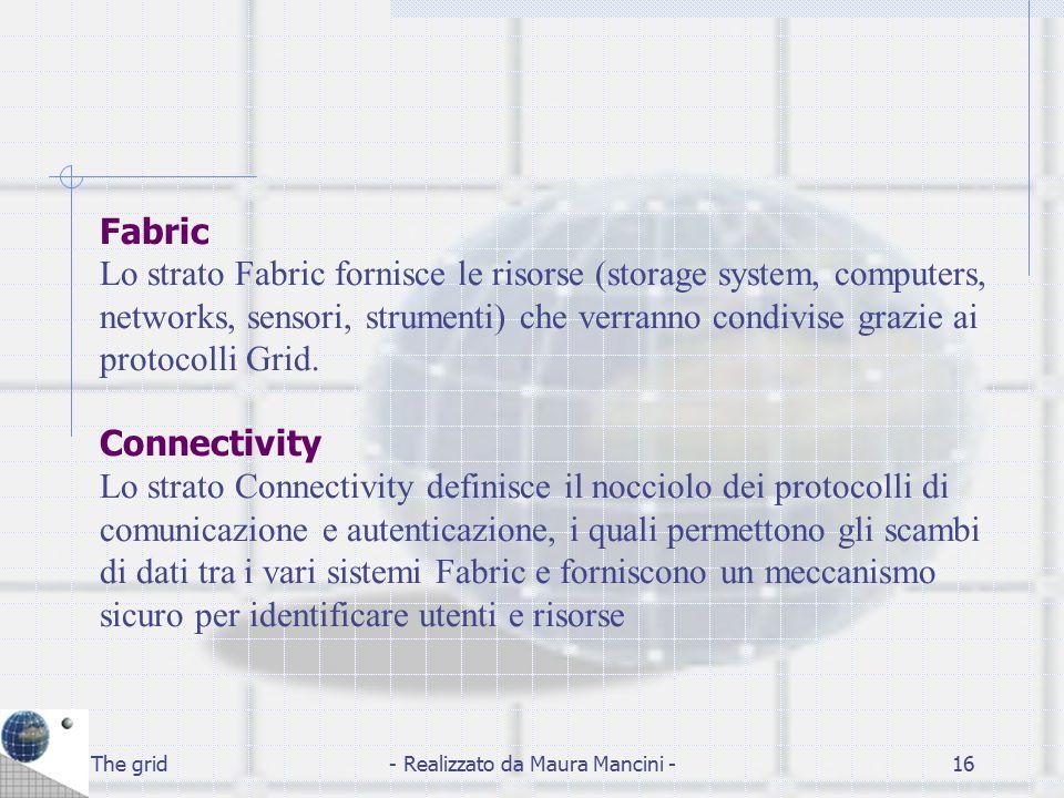The grid- Realizzato da Maura Mancini -16 Fabric Lo strato Fabric fornisce le risorse (storage system, computers, networks, sensori, strumenti) che ve