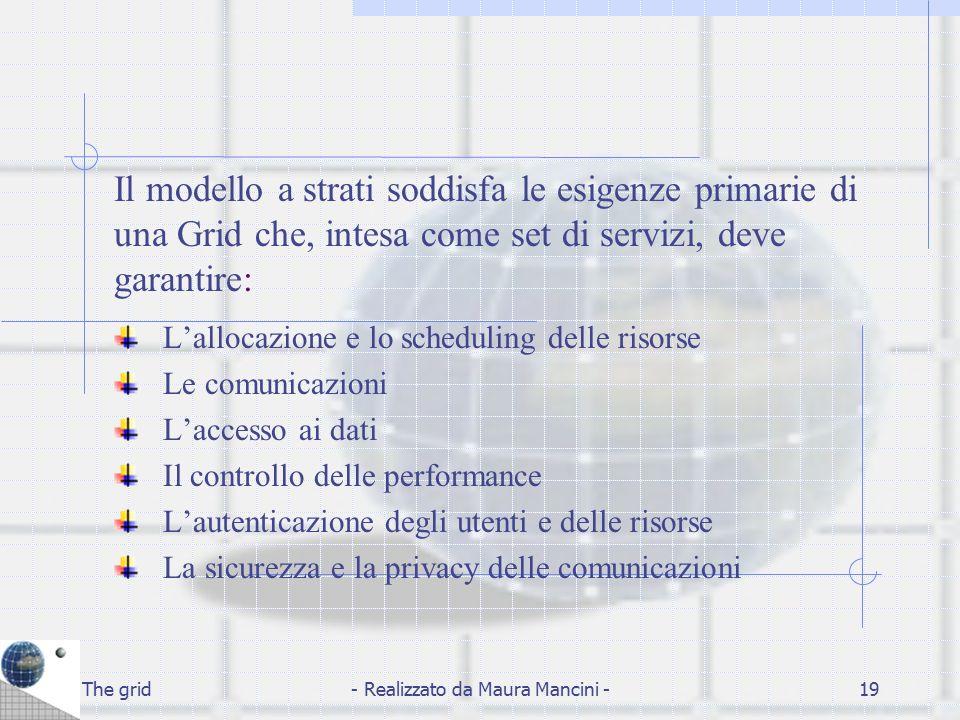 The grid- Realizzato da Maura Mancini -19 Il modello a strati soddisfa le esigenze primarie di una Grid che, intesa come set di servizi, deve garantir