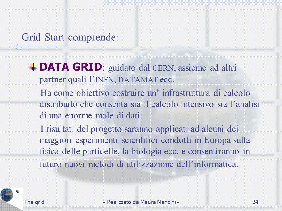 The grid- Realizzato da Maura Mancini -24 Grid Start comprende: DATA GRID : guidato dal CERN, assieme ad altri partner quali l' INFN, DATAMAT ecc. Ha