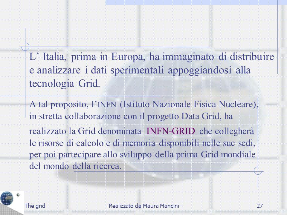 The grid- Realizzato da Maura Mancini -27 L' Italia, prima in Europa, ha immaginato di distribuire e analizzare i dati sperimentali appoggiandosi alla