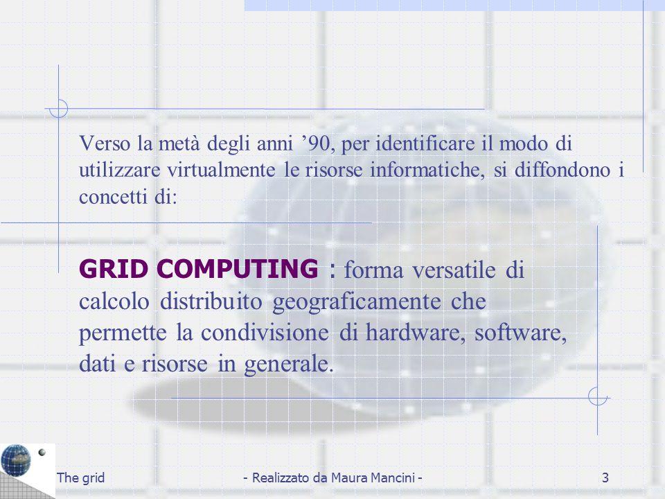 The grid- Realizzato da Maura Mancini -24 Grid Start comprende: DATA GRID : guidato dal CERN, assieme ad altri partner quali l' INFN, DATAMAT ecc.