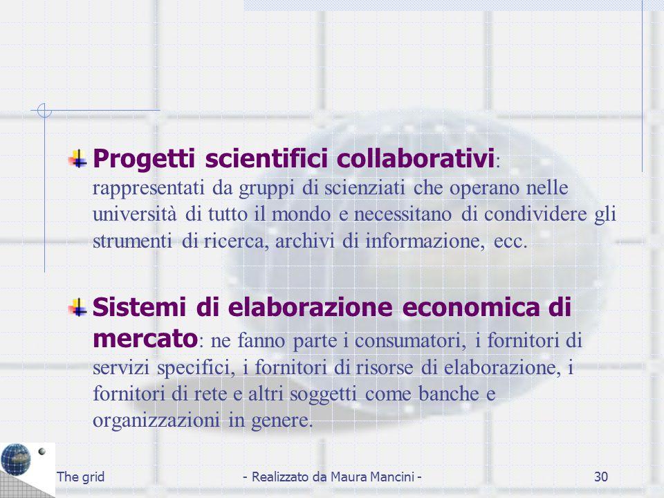 The grid- Realizzato da Maura Mancini -30 Progetti scientifici collaborativi : rappresentati da gruppi di scienziati che operano nelle università di t