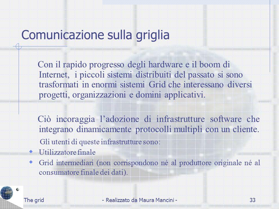 The grid- Realizzato da Maura Mancini -33 Comunicazione sulla griglia Con il rapido progresso degli hardware e il boom di Internet, i piccoli sistemi