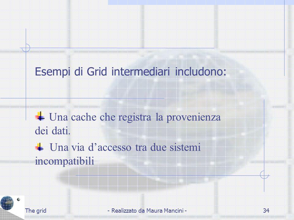 The grid- Realizzato da Maura Mancini -34 Esempi di Grid intermediari includono: Una cache che registra la provenienza dei dati. Una via d'accesso tra