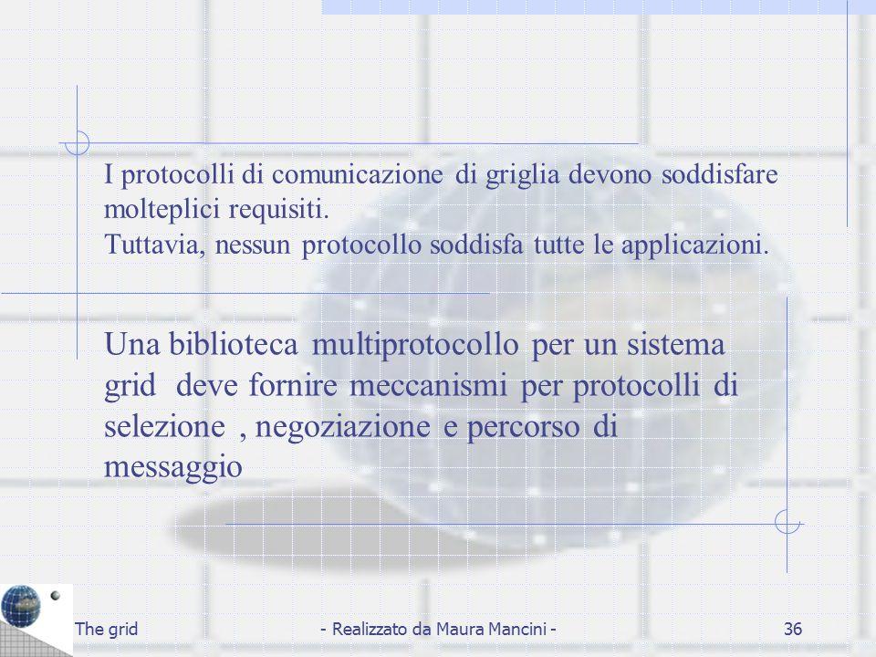 The grid- Realizzato da Maura Mancini -36 I protocolli di comunicazione di griglia devono soddisfare molteplici requisiti. Tuttavia, nessun protocollo