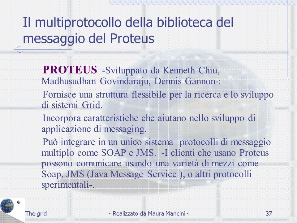 The grid- Realizzato da Maura Mancini -37 Il multiprotocollo della biblioteca del messaggio del Proteus PROTEUS -Sviluppato da Kenneth Chiu, Madhusudh