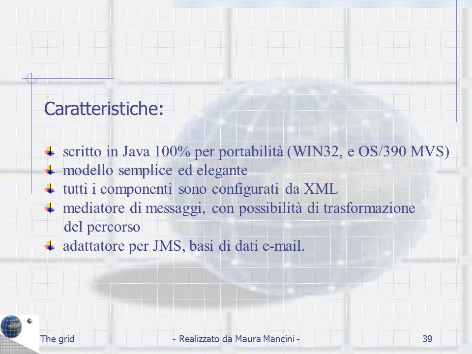 The grid- Realizzato da Maura Mancini -39 Caratteristiche: scritto in Java 100% per portabilità (WIN32, e OS/390 MVS) modello semplice ed elegante tut
