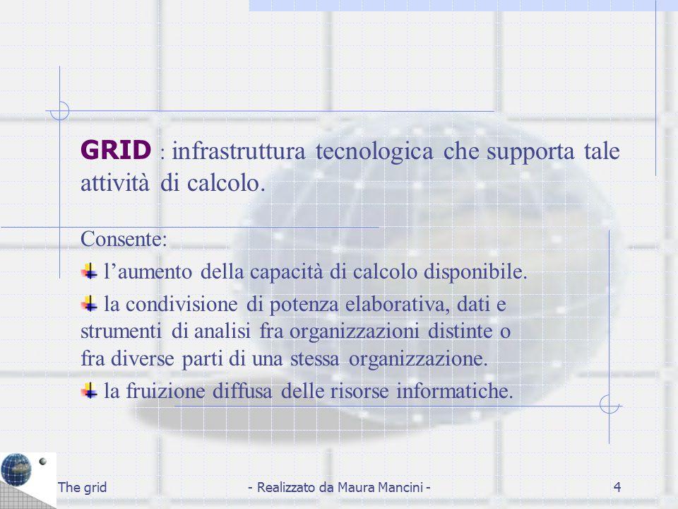 The grid- Realizzato da Maura Mancini -5 Caratteristiche dei GRID: Eterogeneità delle risorse Eterogeneità della rete Eterogeneità delle politiche di sicurezza L'eterogeneità determina complessità in termini installazione, configurazione e manutenzione.