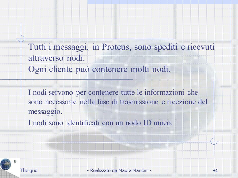 The grid- Realizzato da Maura Mancini -41 Tutti i messaggi, in Proteus, sono spediti e ricevuti attraverso nodi. Ogni cliente può contenere molti nodi