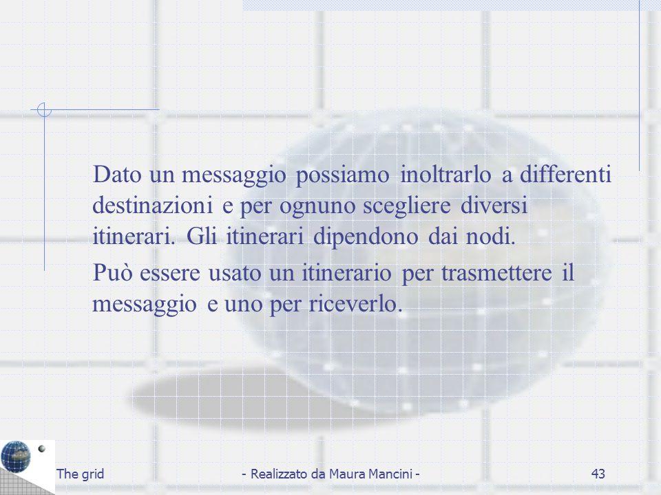 The grid- Realizzato da Maura Mancini -43 Dato un messaggio possiamo inoltrarlo a differenti destinazioni e per ognuno scegliere diversi itinerari. Gl