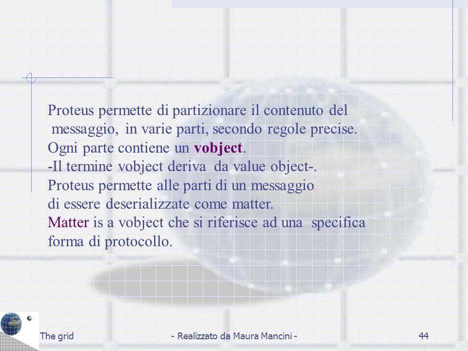 The grid- Realizzato da Maura Mancini -44 Proteus permette di partizionare il contenuto del messaggio, in varie parti, secondo regole precise. Ogni pa
