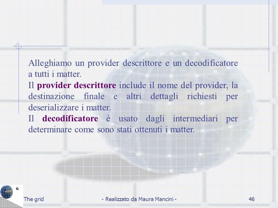 The grid- Realizzato da Maura Mancini -46 Alleghiamo un provider descrittore e un decodificatore a tutti i matter. Il provider descrittore include il