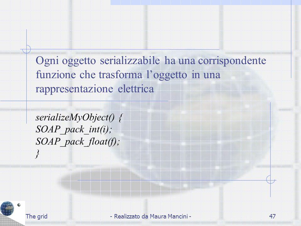 The grid- Realizzato da Maura Mancini -47 Ogni oggetto serializzabile ha una corrispondente funzione che trasforma l'oggetto in una rappresentazione e