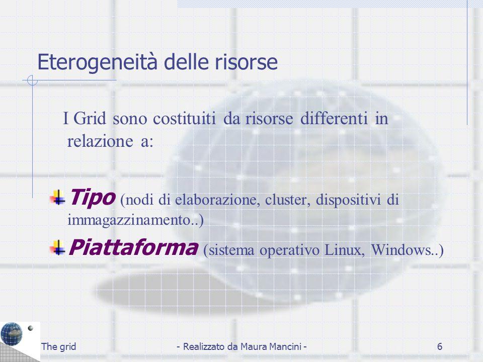 The grid- Realizzato da Maura Mancini -17 Resource Lo strato Resource è focalizzato sulla singola risorsa e costruisce sullo strato Connectivity un protocollo di negoziazione, inizializzazione, monitoragggio, controllo e accounting delle singole risorse.