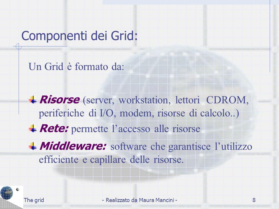The grid- Realizzato da Maura Mancini -9 Funzionamento: Una piattaforma Grid opera grazie ad un'applicazione centralizzata che monitorizza e gestisce le singole postazioni di calcolo utilizzando nel modo più efficiente possibile le risorse a disposizione.