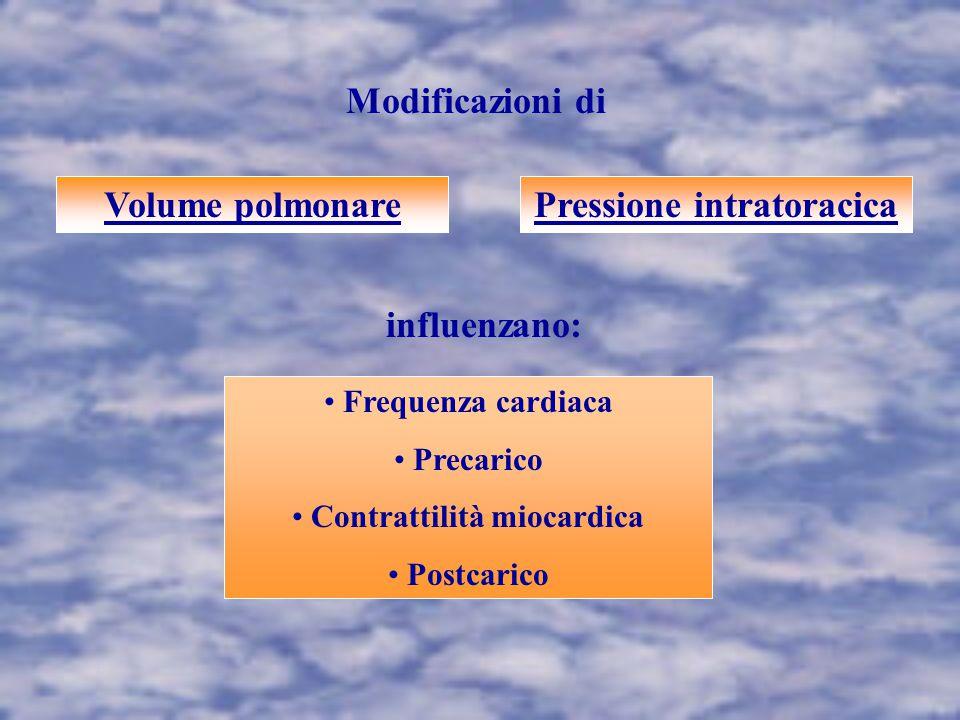 Modificazioni di Volume polmonarePressione intratoracica influenzano: Frequenza cardiaca Precarico Contrattilità miocardica Postcarico