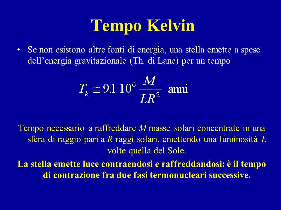 Tempo Kelvin Se non esistono altre fonti di energia, una stella emette a spese dell'energia gravitazionale (Th.