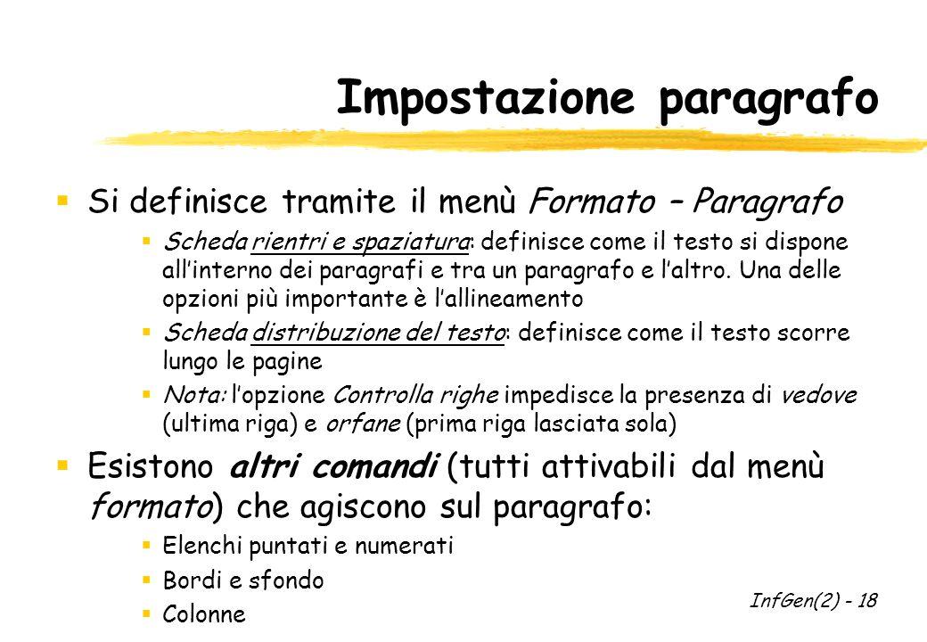 Impostazione paragrafo  Si definisce tramite il menù Formato – Paragrafo  Scheda rientri e spaziatura: definisce come il testo si dispone all'interno dei paragrafi e tra un paragrafo e l'altro.