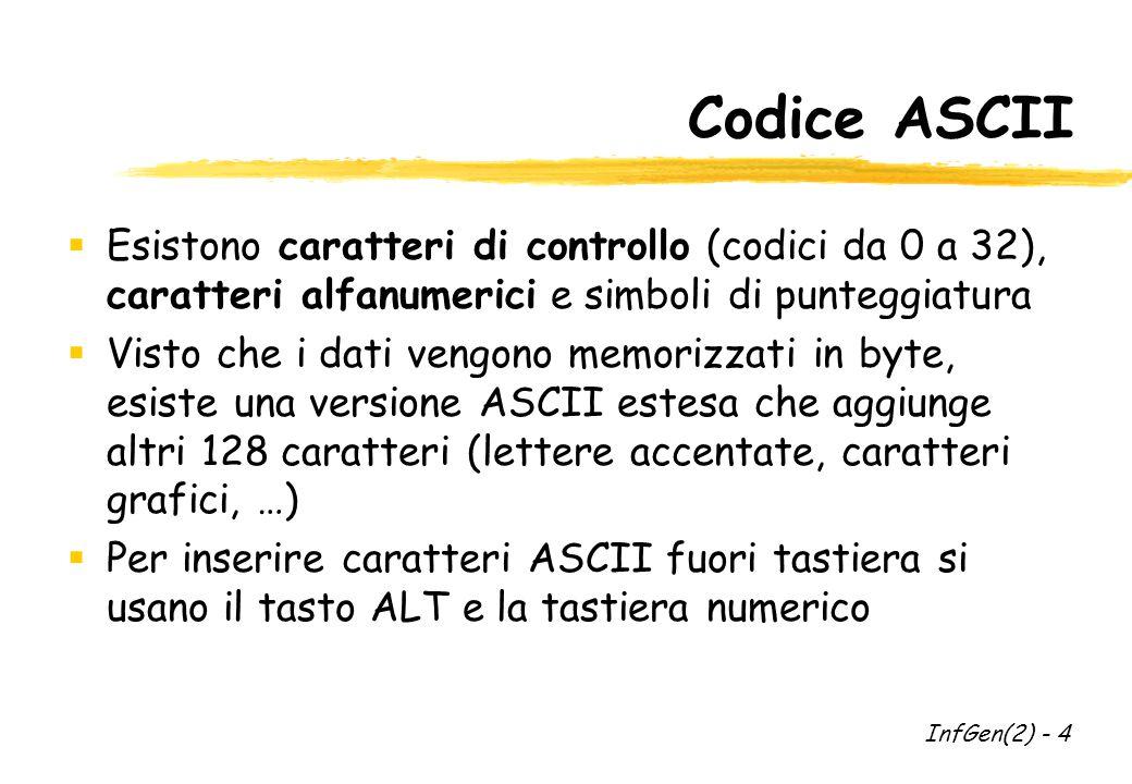 Codice ASCII  Esistono caratteri di controllo (codici da 0 a 32), caratteri alfanumerici e simboli di punteggiatura  Visto che i dati vengono memorizzati in byte, esiste una versione ASCII estesa che aggiunge altri 128 caratteri (lettere accentate, caratteri grafici, …)  Per inserire caratteri ASCII fuori tastiera si usano il tasto ALT e la tastiera numerico InfGen(2) - 4