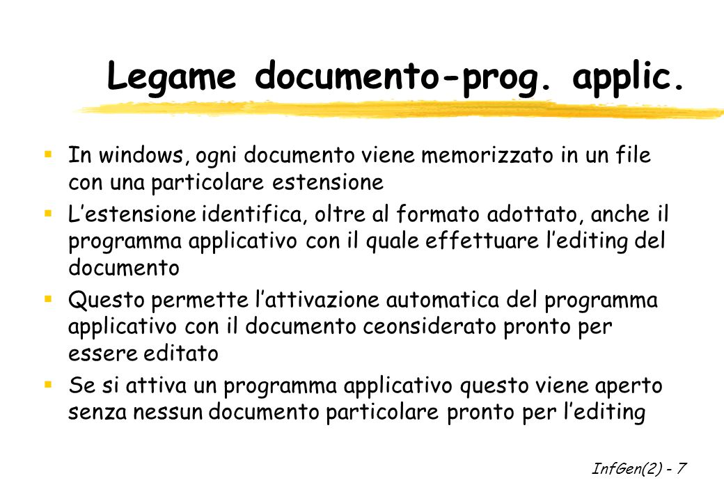 Legame documento-prog.applic.