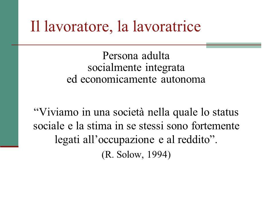 Il significato del lavoro Il lavoro rappresenta, ancora oggi, il principale fattore di identità sociale, un importante canale di socializzazione, e la prevalente fonte di reddito, diretta (retribuzioni) e indiretta (pensioni).