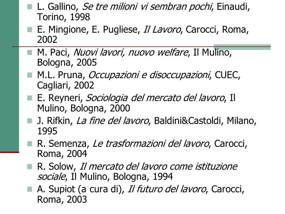 L.Gallino, Se tre milioni vi sembran pochi, Einaudi, Torino, 1998 E.