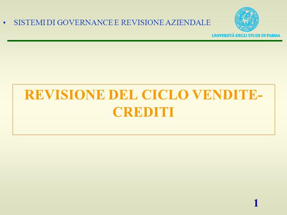 SISTEMI DI GOVERNANCE E REVISIONE AZIENDALE 1 REVISIONE DEL CICLO VENDITE- CREDITI