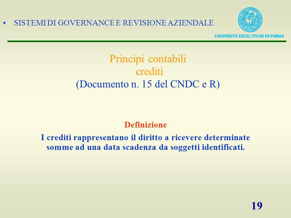 SISTEMI DI GOVERNANCE E REVISIONE AZIENDALE 19 Principi contabili crediti (Documento n. 15 del CNDC e R) Definizione I crediti rappresentano il diritt