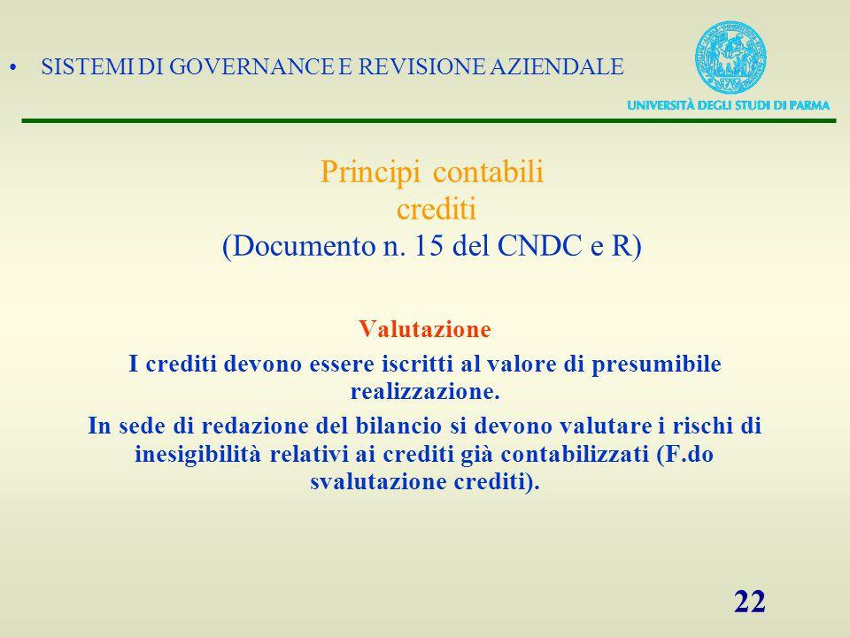 SISTEMI DI GOVERNANCE E REVISIONE AZIENDALE 22 Valutazione I crediti devono essere iscritti al valore di presumibile realizzazione. In sede di redazio