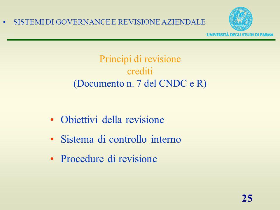 SISTEMI DI GOVERNANCE E REVISIONE AZIENDALE 25 Principi di revisione crediti (Documento n. 7 del CNDC e R) Obiettivi della revisione Sistema di contro