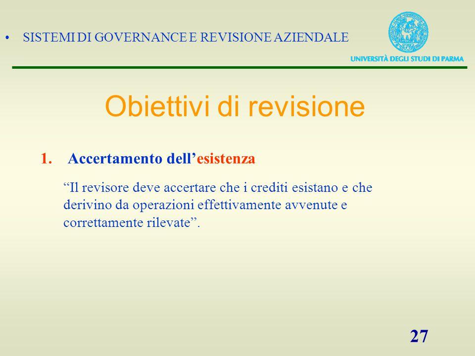 """SISTEMI DI GOVERNANCE E REVISIONE AZIENDALE 27 1. Accertamento dell'esistenza """"Il revisore deve accertare che i crediti esistano e che derivino da ope"""