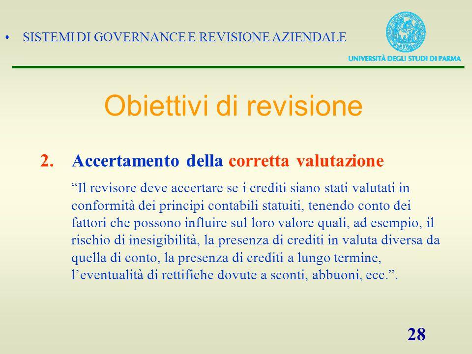 """SISTEMI DI GOVERNANCE E REVISIONE AZIENDALE 28 2.Accertamento della corretta valutazione """"Il revisore deve accertare se i crediti siano stati valutati"""