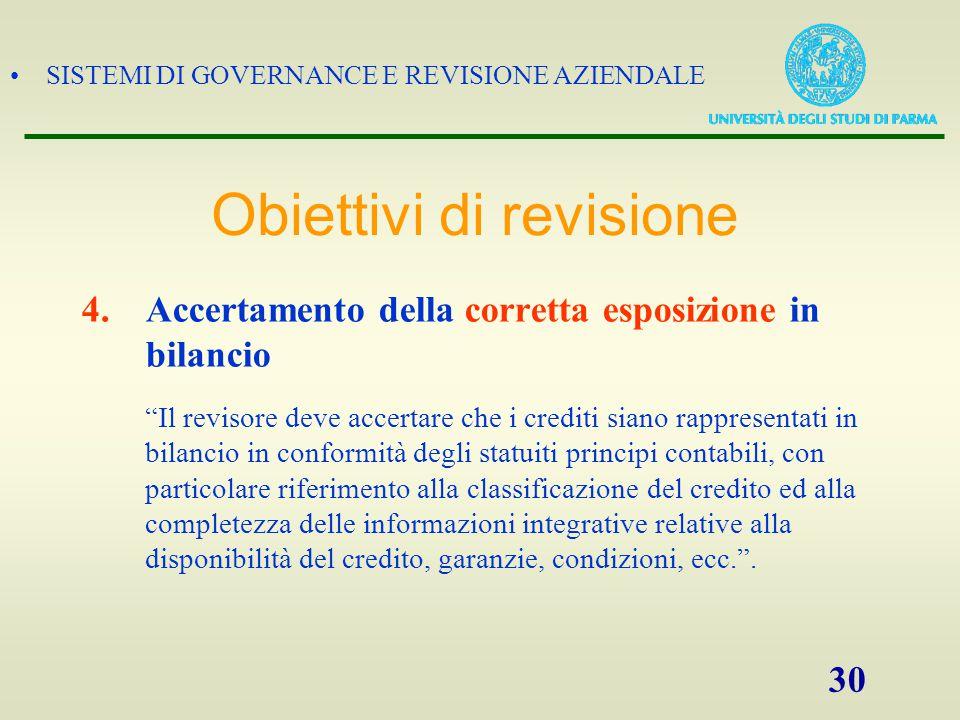 """SISTEMI DI GOVERNANCE E REVISIONE AZIENDALE 30 4.Accertamento della corretta esposizione in bilancio """"Il revisore deve accertare che i crediti siano r"""