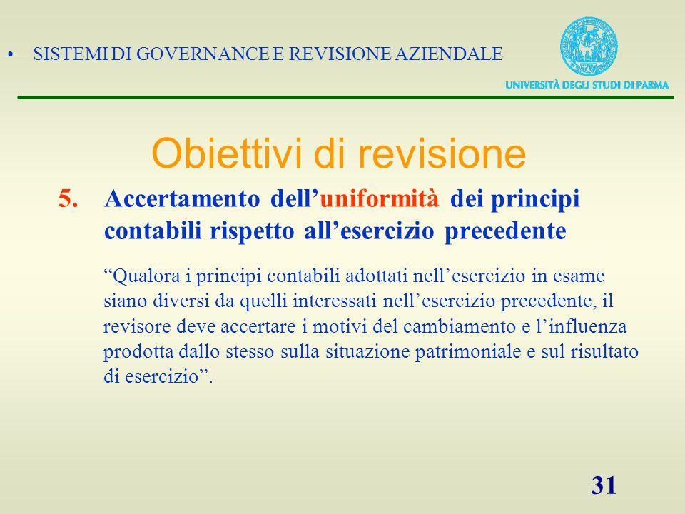 """SISTEMI DI GOVERNANCE E REVISIONE AZIENDALE 31 5.Accertamento dell'uniformità dei principi contabili rispetto all'esercizio precedente """"Qualora i prin"""