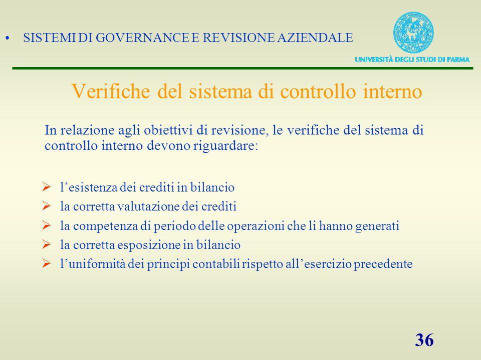 SISTEMI DI GOVERNANCE E REVISIONE AZIENDALE 36 Verifiche del sistema di controllo interno  l'esistenza dei crediti in bilancio  la corretta valutazi