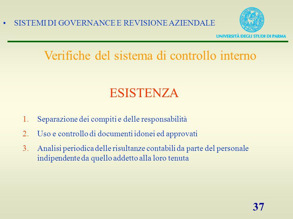 SISTEMI DI GOVERNANCE E REVISIONE AZIENDALE 37 1.Separazione dei compiti e delle responsabilità 2.Uso e controllo di documenti idonei ed approvati 3.A